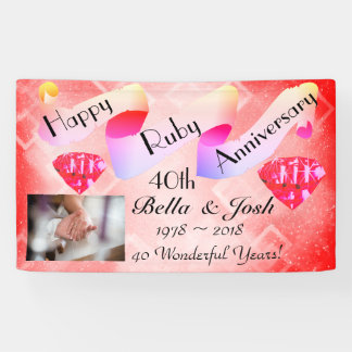 Personalized Happy 40th Wedding Anniversary Banner