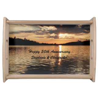 Personalized Happy 50th Anniversary Sunset at Lake Serving Tray