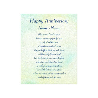 Personalized Happy Anniversary Poem Art Canvas Print