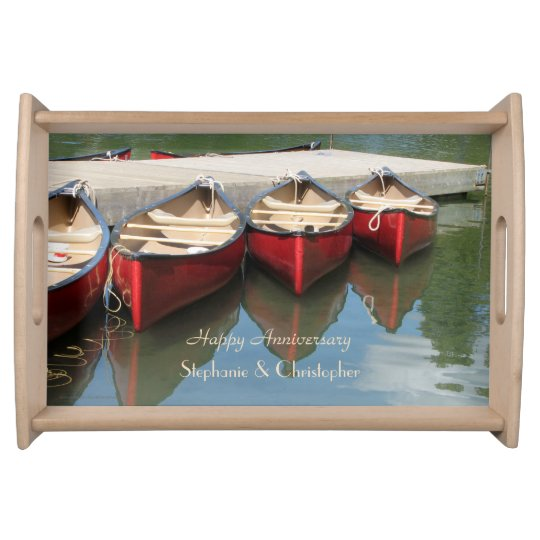 Personalized Happy Anniversary Red Canoes on Lake Food Tray