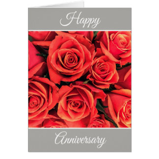 Personalized Happy Anniversary Roses Greeting Card
