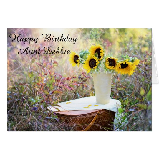 Personalized Happy Birthday Aunt Sunflower Card