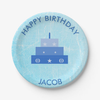 Personalized Happy Birthday Blue Cake Plates