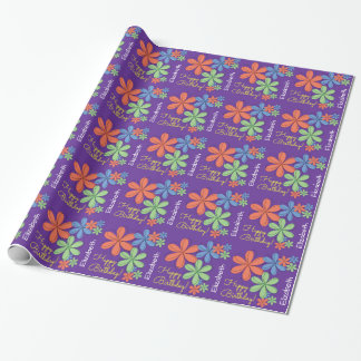 Personalized Happy Birthday Colorful Daisies Wrapping Paper