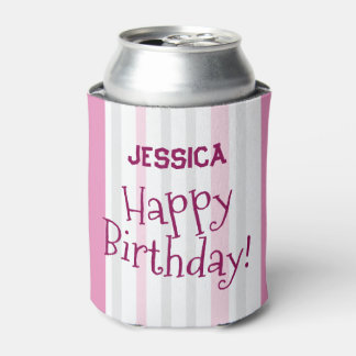 Personalized Happy Birthday PINK Add a Name Can Cooler
