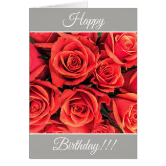 Personalized Happy Birthday Roses Greeting Card