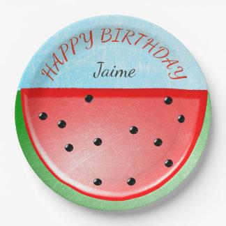 Personalized Happy Birthday Watermelon Plates