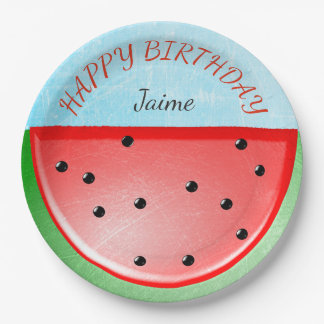 Personalized Happy Birthday Watermelon Plates 9 Inch Paper Plate
