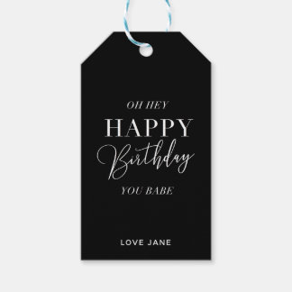 "Personalized ""Happy Birthday, You Babe"" gift tag"