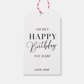"Personalized ""Happy Birthday, You Babe"" tag pink"