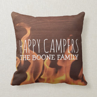 Personalized Happy Campers | Rustic Wood Campfire Throw Pillow