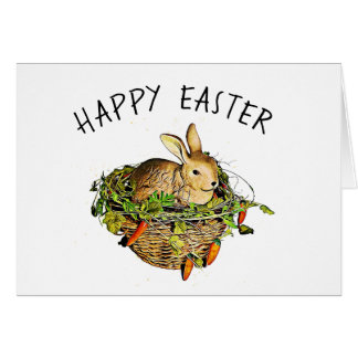 Personalized Happy Easter Vintage Bunny Card