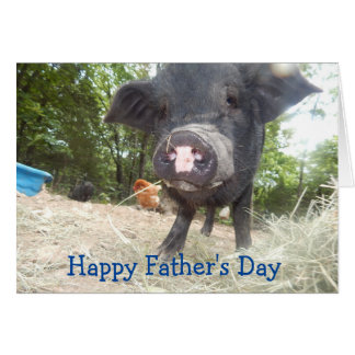 Personalized Happy Father's Day, Mini Pig Card