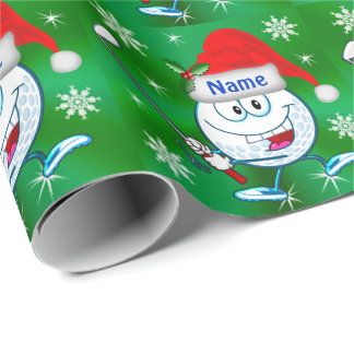 Personalized Happy Golf Christmas Wrapping Paper