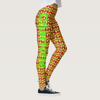 Personalized Happy Halloween Candy Corn Pattern Leggings