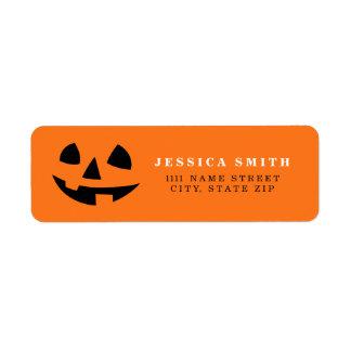 Personalized Happy Halloween pumpkin smile icon Return Address Label