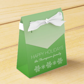 Personalized Happy Holidays Green Ombre Party Favor Boxes