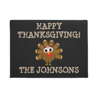 Personalized Happy Thanksgiving funny turkey print Doormat