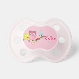 "Personalized ""Happy Tree Owls"" Baby Pacifier"