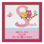 Personalized Happy Tree/Owls Birth Info Poster