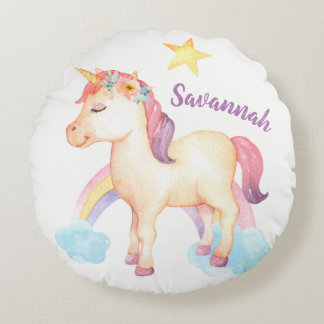 Personalized Happy Unicorn Pillow with Flowers
