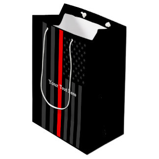 Personalized Have Your Text Thin Red Line US Flag Medium Gift Bag