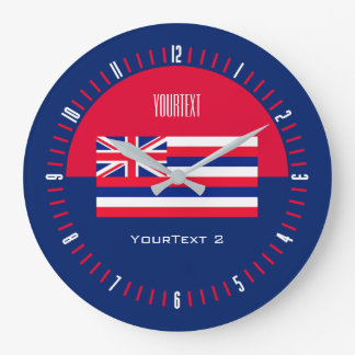 Personalized Hawaii State Flag on a Large Clock