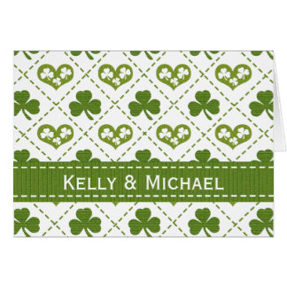 Personalized Heart and Shamrock Wedding Thank You Card