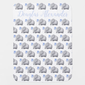 Personalized Heart Balloons Elephants with Date Baby Blanket