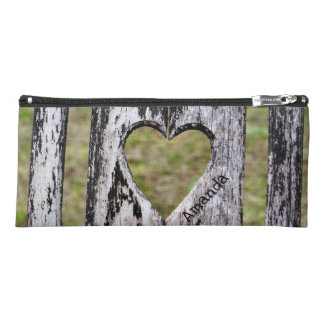 Personalized Heart Carved Wooden Chair Back Pencil Case