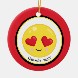 Personalized Heart Eyes Love Emoji Ornament