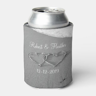 Personalized heart in sand wedding can coolers