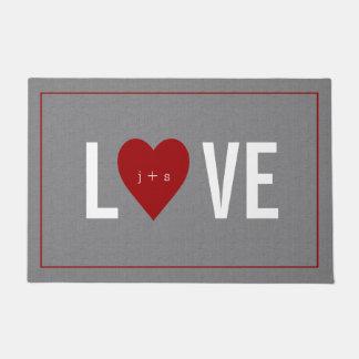 Personalized Heart Initial Grey Doormat