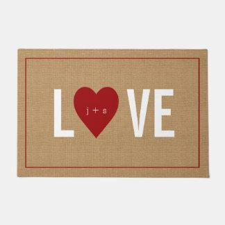 Personalized Heart Initial Jute Doormat