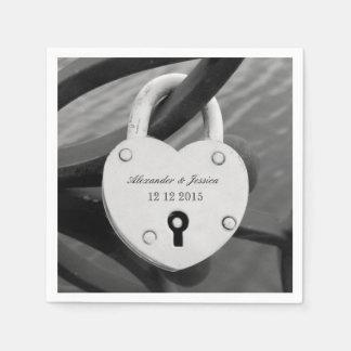 Personalized heart love lock photo wedding napkins disposable napkin