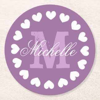 Personalized heart monogram wedding party coasters
