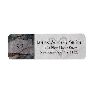 Personalized Heart on Grey Stone Wall Return Address Label