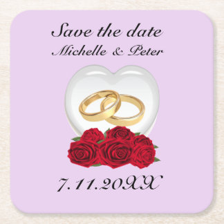 "Personalized Heart Roses Wedding ""Save The Date"" Square Paper Coaster"