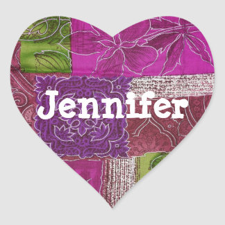 Personalized Heart Shaped Purple Quilt  Sticker