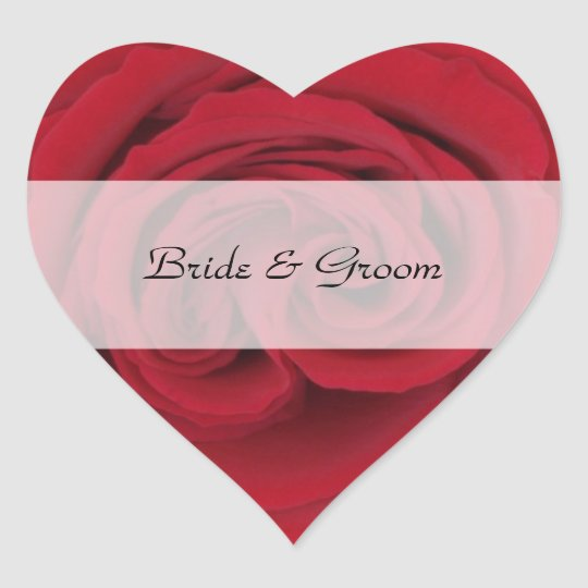 Personalized Heart Wedding Stickers --  Red Rose