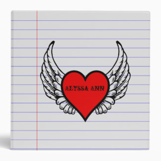 Personalized Heart With Wing Lined Paper School 3 Ring Binders