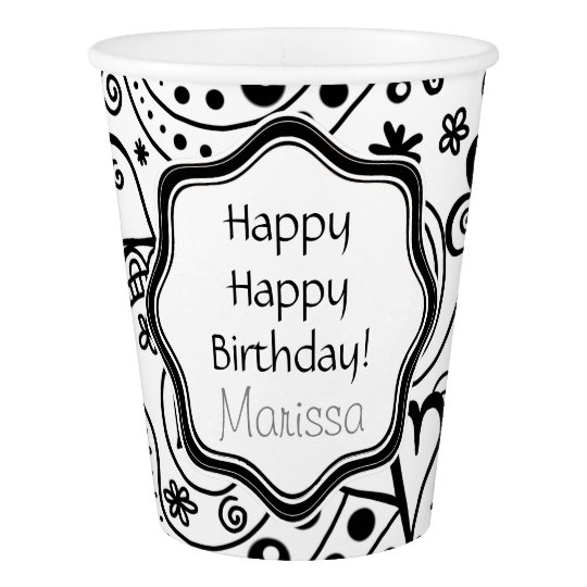 Personalized Hearts and Birthday Party Pattern Paper Cup