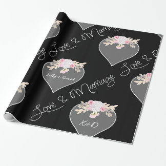 Personalized Hearts and Flowers Chalkboard Wedding