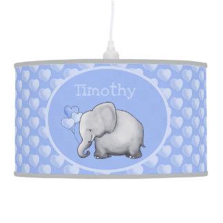 Personalized Hearts Elephants Baby Boy Nursery Pendant Lamp