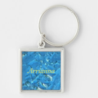 Personalized Heavy Frost Silver-Colored Square Keychain
