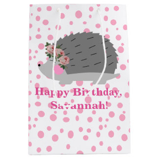 Personalized Hedgehog Birthday Gift Bag