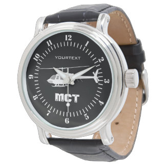 Personalized Helicopter Chopper Silhouette Flying Watch