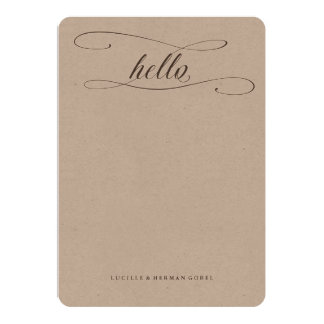 Personalized Hello Calligraphy Kraft Stationery Card