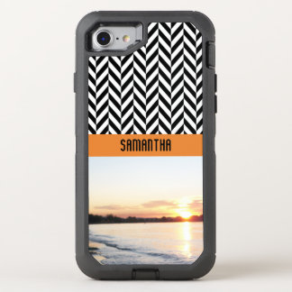 Personalized Herringbone Sunset Colors - OtterBox Defender iPhone 8/7 Case
