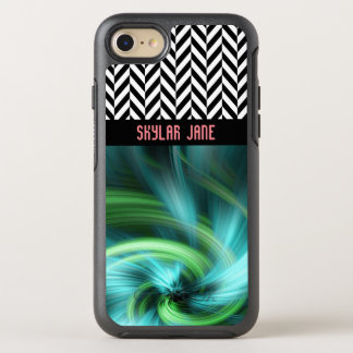 Personalized Herringbone Turquoise Colors - OtterBox Symmetry iPhone 8/7 Case